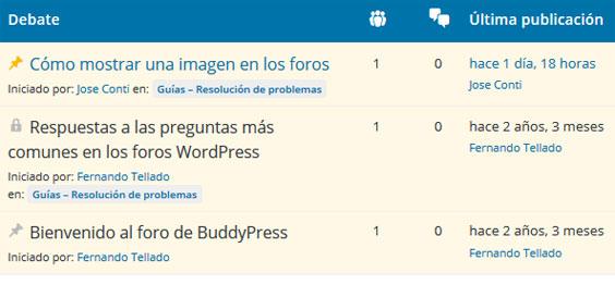 Foro de soporte de un plugin en WordPress