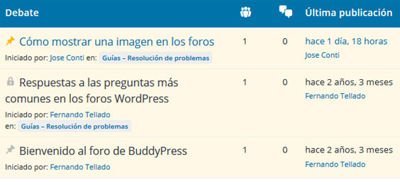 Foro de soporte de un plugin en WordPress