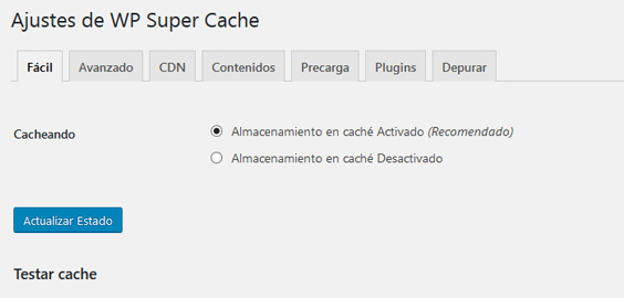 Activar el plugin WP Super Cache en WordPress