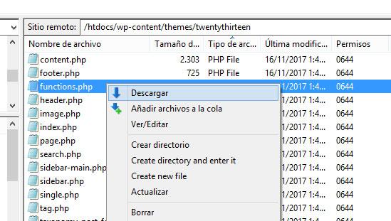 Descargar el archivo functions.php del tema de WordPress