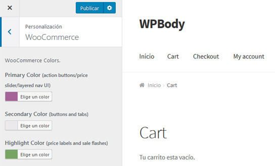 Personalizar los colores de WooCommerce con el plugin WooCommerce Colors