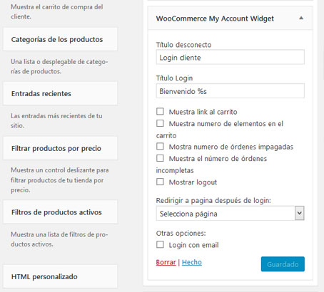 Widget de cuenta del cliente con el plugin WooCommerce My Account Widget