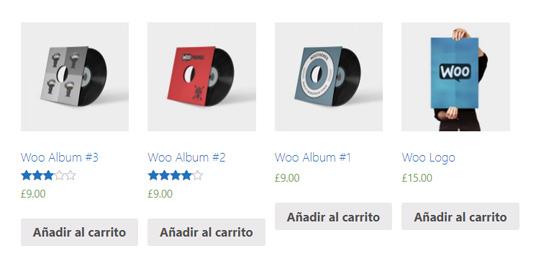 Cuatro productos en cuatro columnas usando los shortcodes de WooCommerce