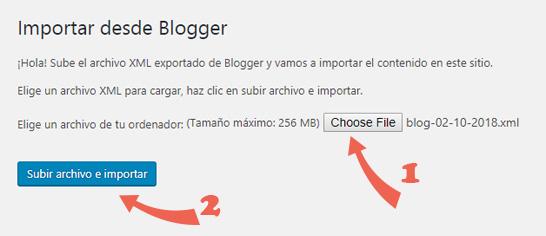 Importar archivo de xml del contenido de Blogger a WordPress