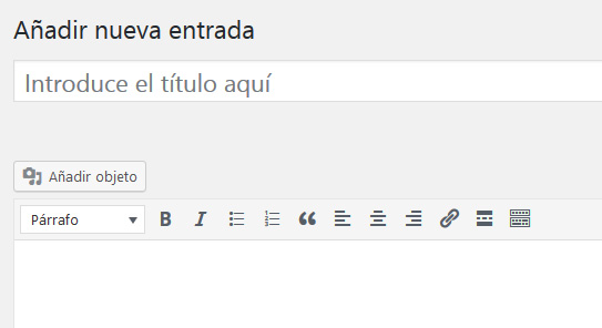 Editor de entradas para crear contenido en WordPress