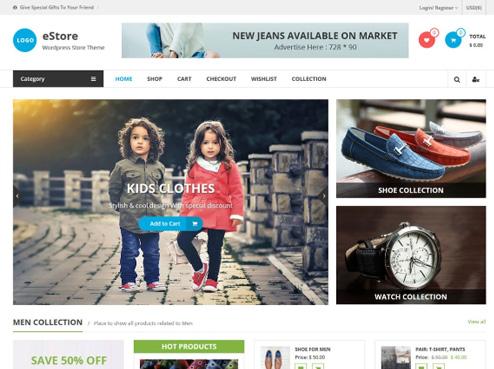 Tema gratuito eStore de WooCommerce para tu tienda virtual
