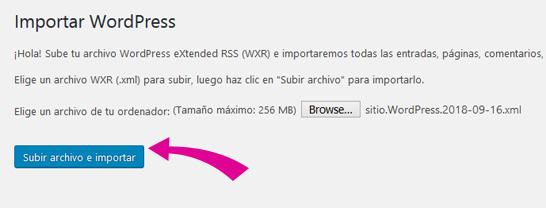 Importar archivo XML del contenido en panel de WordPress