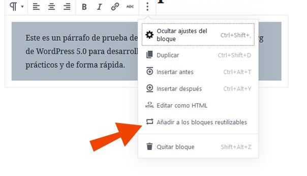 Crear bloque reutilizable en el editor Gutenberg en WordPress