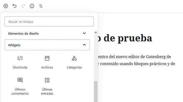 Insertar Widgets con el editor Gutenberg de WordPress