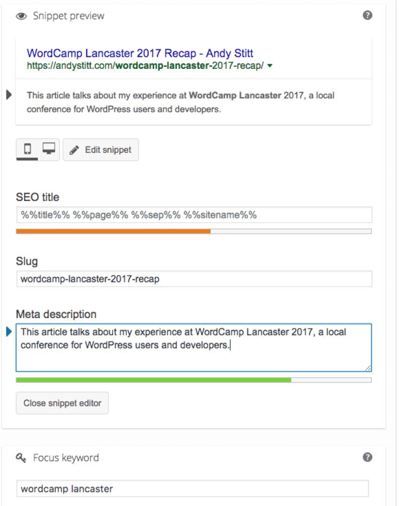 Screenshot of the Yoast SEO WordPress plugin