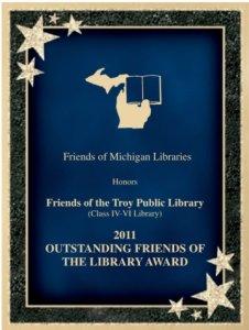 2011 Friends of Michigan Library Winner plaque