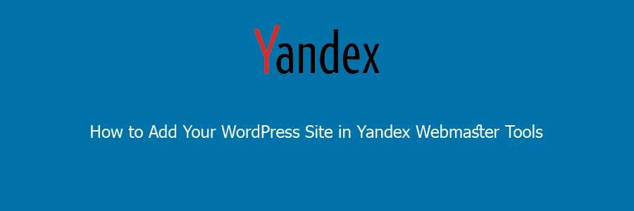 Add your Wordpress in yandex