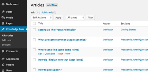 Adding knowledge base articles and sections