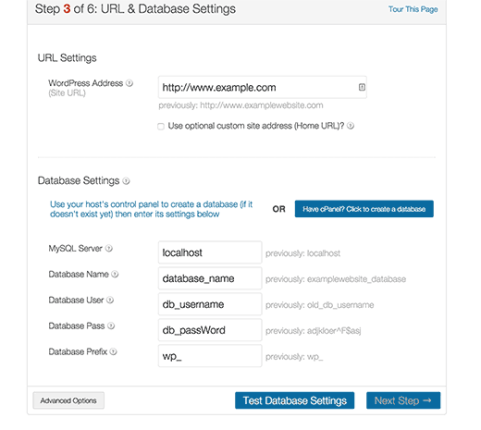 Database and URL settings section