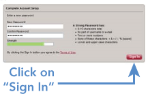 MyWellshire Create Password screen