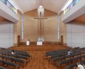 Proposed Wellshire Church Sanctuary Interior, looking East - with wood ceiling