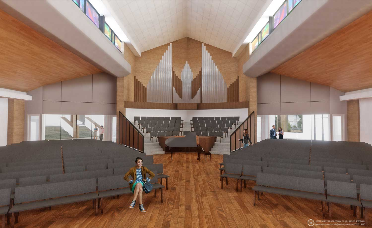 Proposed Wellshire Church Sanctuary Interior, looking West with wood ceiling