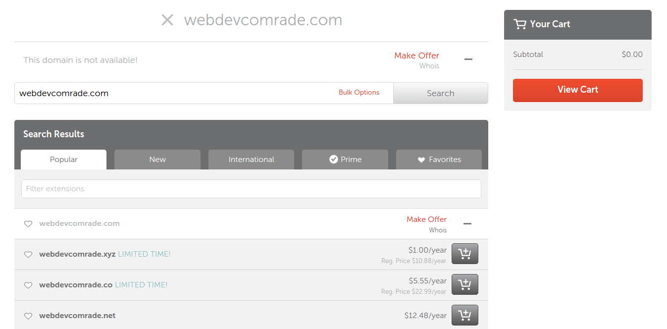 Domain name is already taken