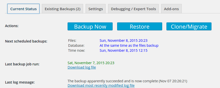 updraftplus_backup&restor