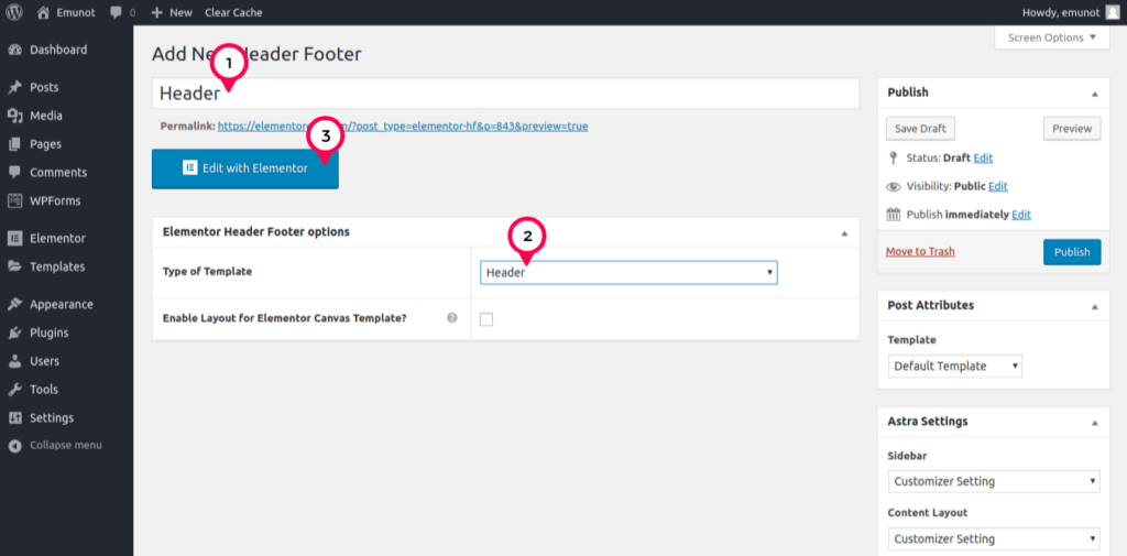 give header a name then choose header as type of template