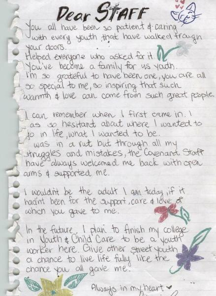 A beautiful thank you letter from a young person in honour