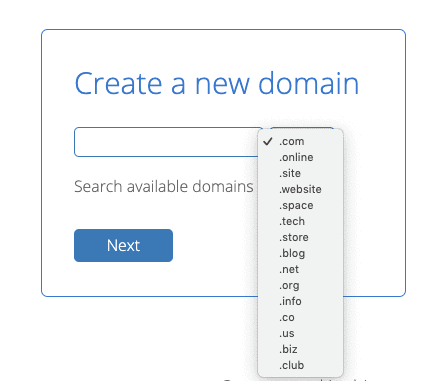 bluehost-choose-domain-extension