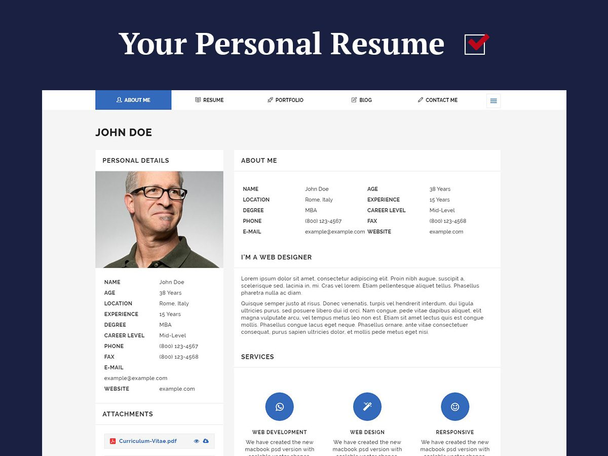 Wordpress Resume Themes Personal Resume And Cv Wordpress Themes For 2017 Wp Daddy