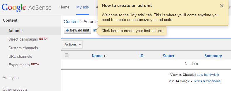 AdSense-first-ad