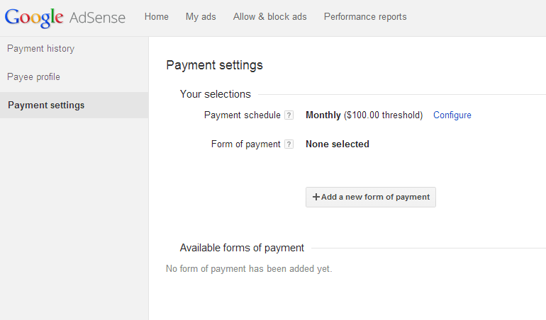 AdSense-payment-settings