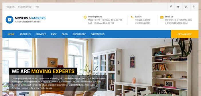 Movers Packers - Responsive WordPress Theme