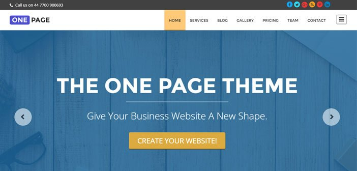 One Page - Professional Business WordPress Theme