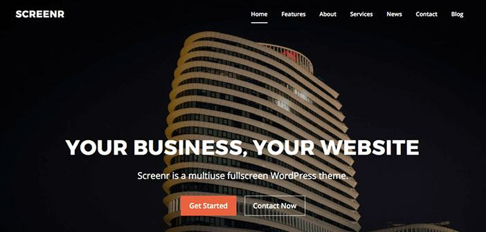 Screenr Fullscreen Parallax WordPress Theme