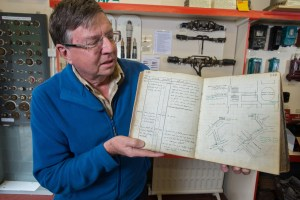 Paul Hulbert showing a cable recorder's notebook in our South West Archives