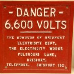 Danger plate from an electricity supply substation in Bridport