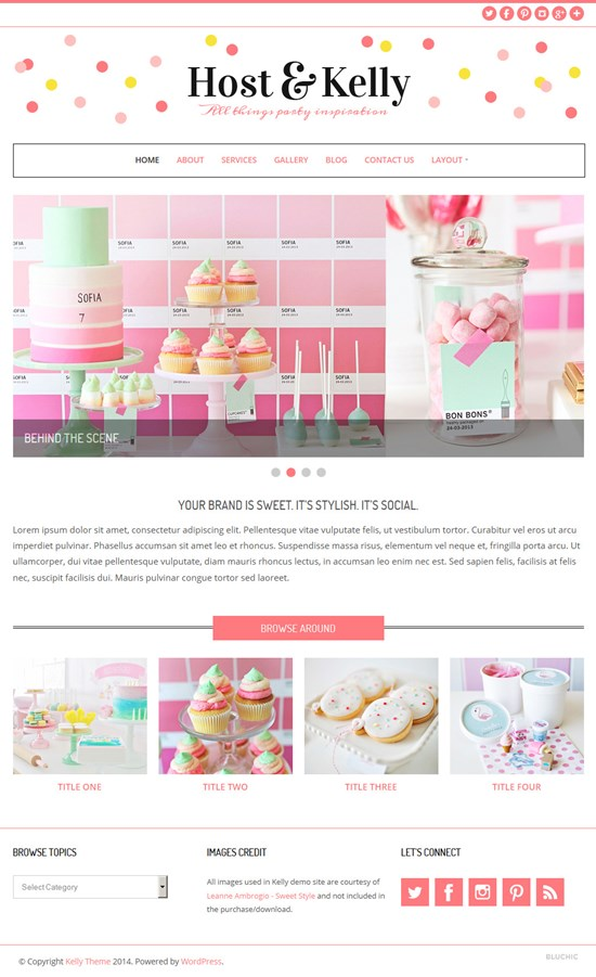 Kelly Party Planner Feminine WordPress Theme