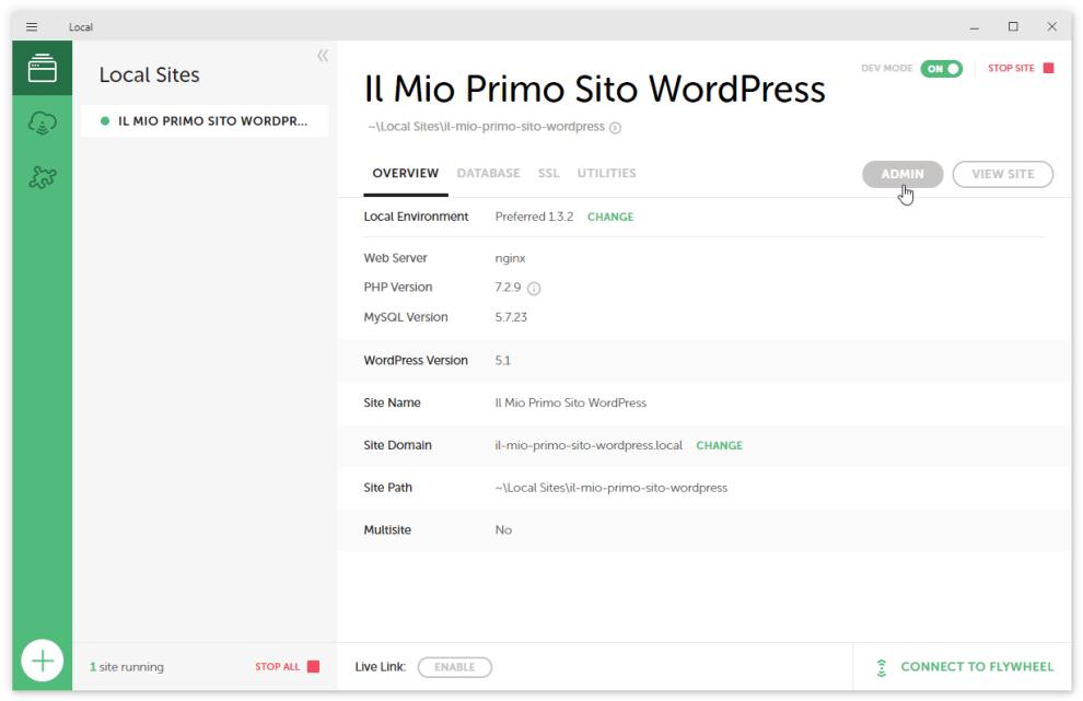 schermata gestione siti WordPress locali con Local by Flywheel