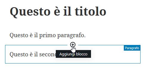 pulsante per aggiunta blocco in WordPress