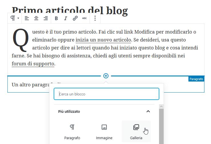 aggiunta blocco e pannello selezione blocchi WordPress