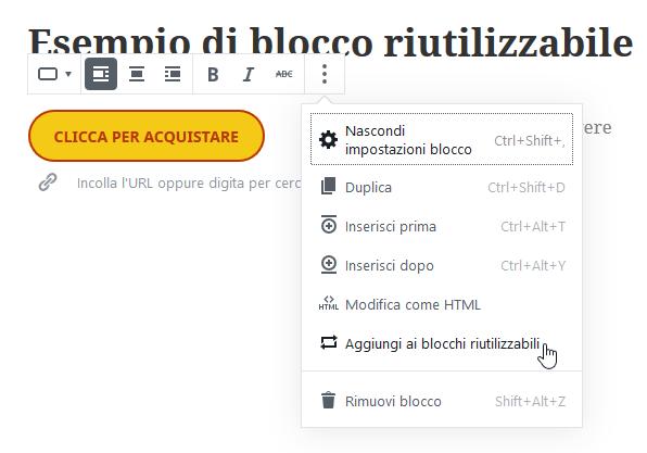 aggiunta di blocco Pulsante ad elementi riutilizzabili di WordPress