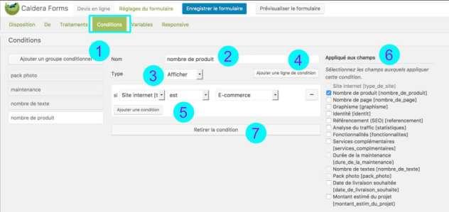 Conditions pour devis en ligne avec Caldera Forms