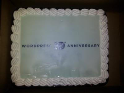 WordPress 10th anniversary cake