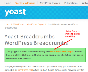 Don't use WordPress breadcrumbs, use WordPress SEO!