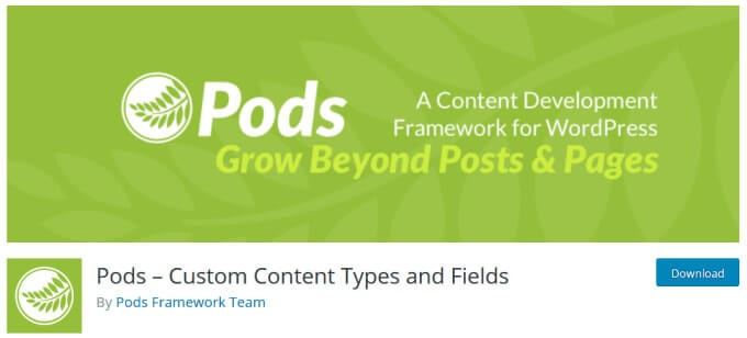 Pods – Custom Content Types and Fields By Pods Framework Team