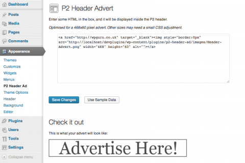 P2 Header Ad - Admin Options
