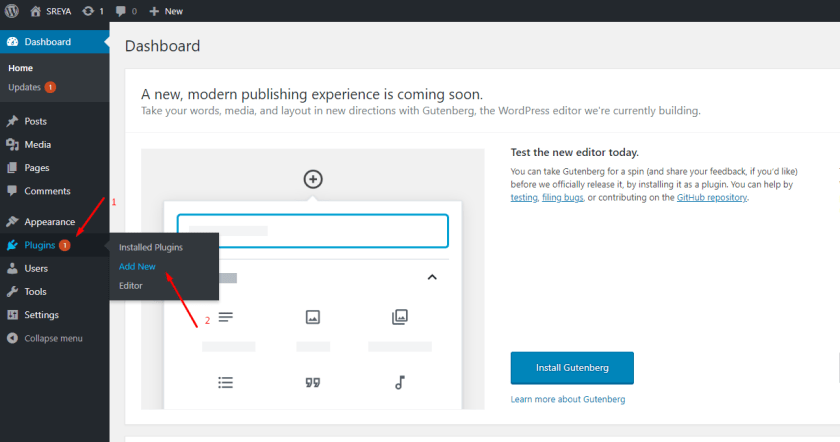 Add plugin- create eCommerce site using WordPress