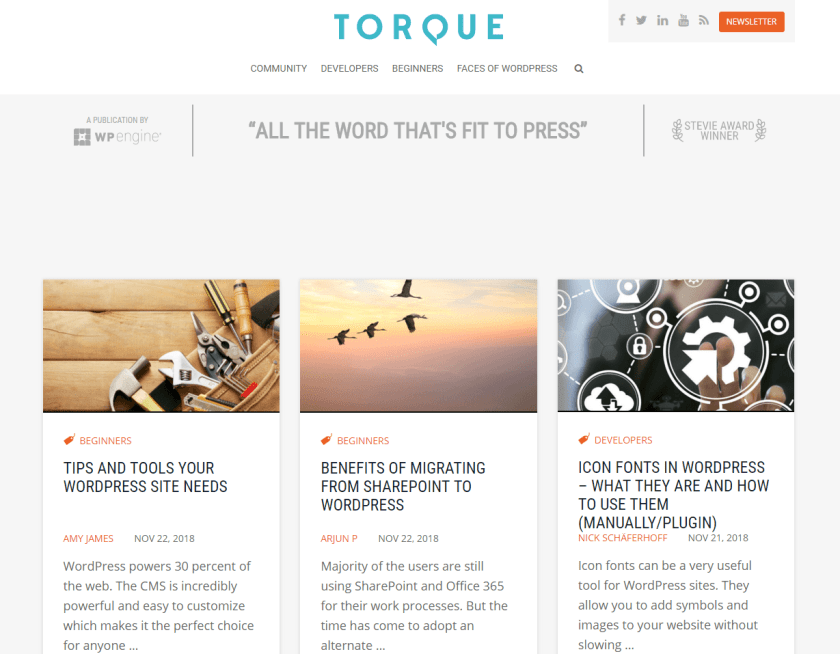 torque- best WordPress blogs
