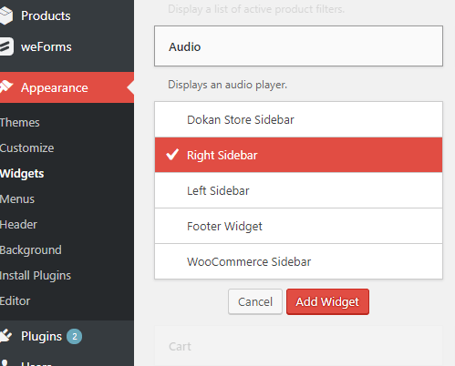 Adding WordPress Widget Add-widgets-in-Widget-area