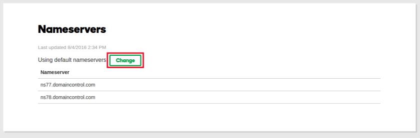 Change Domain Nameserver