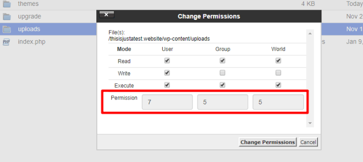 change file permission uploads folder WordPress