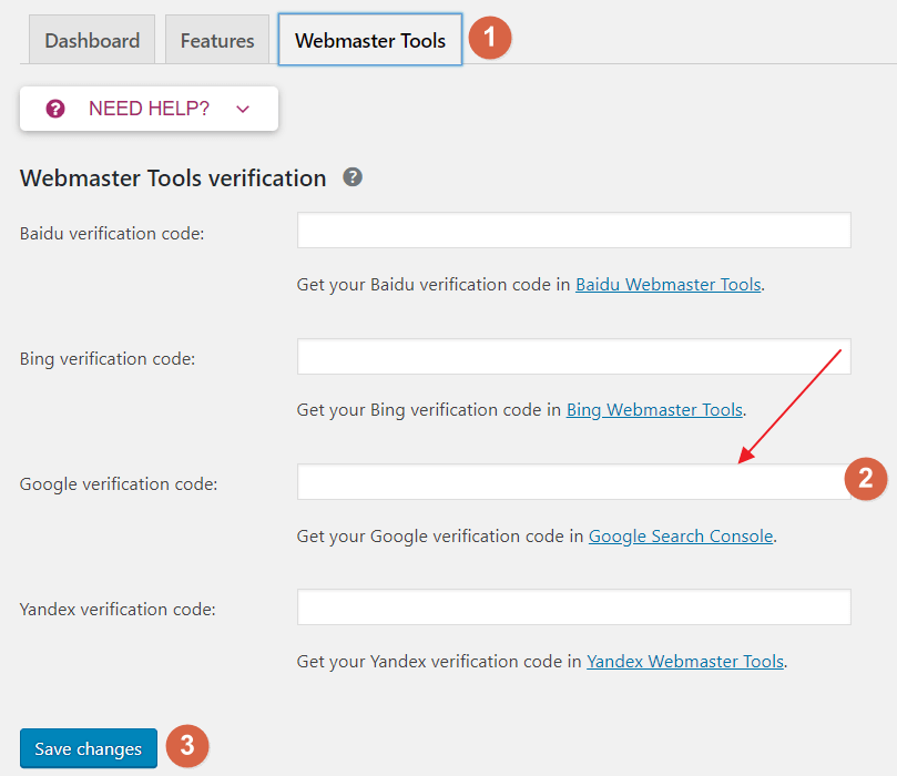 Setting Up Webmasters Tools